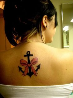 girly anchor tattoo but I want the bow in teal to represent me being a rape victim/survivor.