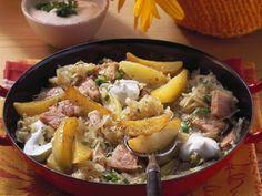 Kartoffel-Sauerkraut-Pfanne mit Kassler ist ein Rezept mit frischen Zutaten aus der Kategorie Schwein. Probieren Sie dieses und weitere Rezepte von EAT SMARTER!