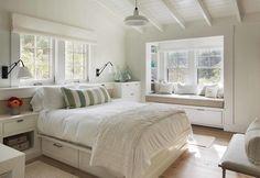 Neutral beach theme. Window seat in the bedroom.   Martha's Vineyard Beach Barn House-Hutker Architects-16-1 Kindesign