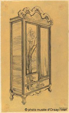 """Emile Gallé Armoire """"La Berce des prés"""" en 1902 plume et encre noire sur papier calque contrecollé sur papier H. 0.268 ; L. 0.162 musée d'Orsay, Paris, France"""