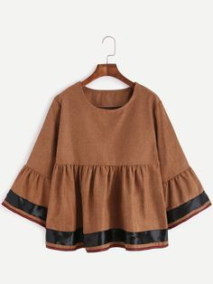 Хаки Полосатый отделка рюшами Блуза