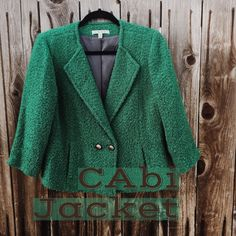CAbi Jacket This green wool and polyester blend jacket by Cabi is lined in gray and has two front pockets and a collar-less lapel. It pops in green and it's a guaranteed winner!! CAbi Jackets & Coats Blazers