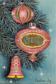 Pink Vintage Christmas ornaments