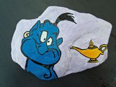 Custom Original Hand Painted Acrylic Genie from Aladdin on river rock stone art