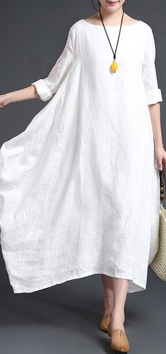 80c157e2f5 fashion white linen plus size O neck fall dresses Elegant long sleeve  asymmetrical design maxi dresses. Omychic Linen Dress