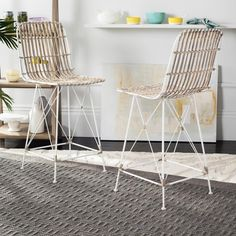 With its chic Eiffel style framework and woven wicker seating, the Safavieh Minerva in. Wicker Counter Stool - Set of 2 is a stylish seating. Wicker Counter Stools, 24 Bar Stools, Counter Height Stools, Swivel Bar Stools, Bar Counter, Rattan Stool, Stool Height, Contemporary Lounge, Contemporary Style