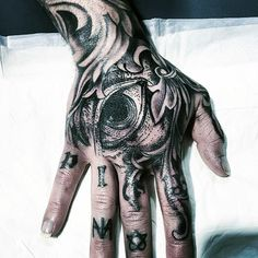 Mens Black Illuminati Tattoo Hands