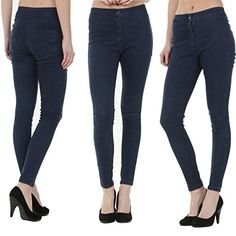 IMPRESHUNZ  Womens Skinny High Waist Jeans - HWPLN - Navy (18) Made from premium quality thread and well-suited to perfection