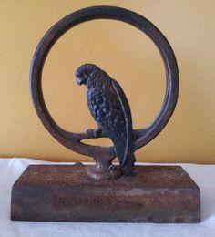 Antique Bradley & Hubbard Doorstop, Cast Iron Door Stop, Parrot on Ring, Hand Pa.