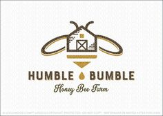 """Logo for sale by Melanie D - Logomood.com """"Simple and modern honey bee themed logo design that uniquely combines the a honey bumble bee and a farm house image to create this unique honey farm logo design."""