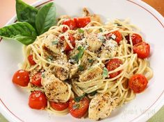 Tomato-Basil Chicken and Pasta **Low Fat/ Cal/ High Protein Recipe