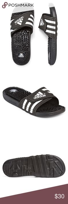 BMWT Adidas Sandals SIZE 7 slip on quick-dry bandage lining sylish graphic featuring adidas performance mark solid nubs on footbed offer soothing massage effect for quick recovery adidas Shoes Sandals