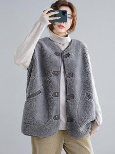 Loose Wool Vest Outwear – moongor Autumn Fashion Women Fall Outfits, Womens Fashion, Wool Vest, Top Colour, Going Out, Casual, Sweaters, Cotton, Style