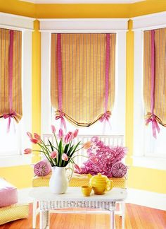 Champagne and Caviar Dreams...love hot pink and yellow together..dainty window treatments                                                                                                                                                      More