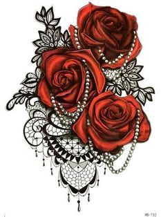 Florence Red Rose Black Henna Lace Temporary Tattoo at MyBodiArt.com