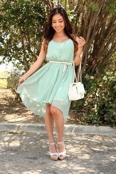 Mint High-Low Dress