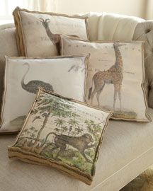 British Colonial style pillows. Use acrylic paint and the large format printer to transfer to fabric. LH