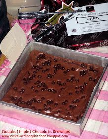 Just My Ordinary Kitchen...: DOUBLE (triple) CHOCOLATE BROWNIES Double Chocolate Brownies, Fudgy Brownies, Brownie Recipes, Food And Drink, Candy, Homemade, Cookies, Desserts, Kitchens