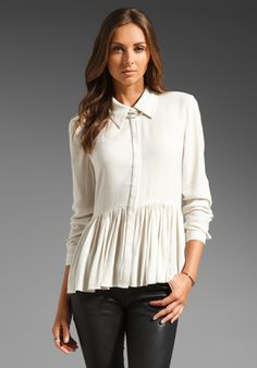 Tibi Gauzy Twill A Line Blouse in Ivory