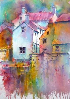 Staithes Harbour, Brusho by Joanne Boon Thomas Watercolor Landscape, Watercolour Painting, Painting & Drawing, Watercolours, Painting Abstract, Acrylic Paintings, Landscape Art, Watercolor Techniques, Art Techniques