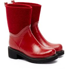 Ilse Jacobsen Rub53 Wine Red Mid Wool-Felt Wellington Boots (97 CAD) ❤ liked on Polyvore featuring shoes, boots, red, waterproof rain boots, wine boots, waterproof rubber boots, slip on rubber boots and wellies boots