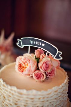 Cake Topper Banner Chalkboard Wedding Cake by ThePaperWalrus