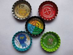 FTF bottle caps - put paper in cap and fill with hot glue or epoxy.