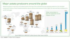World map of #potato producers, Potatoes are #grown in more than one hundred countries.