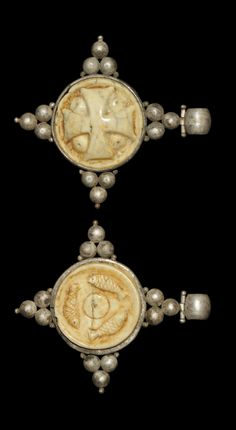 Byzantine Silver and Ivory Cross Pendant, 6th-8th century A.D.