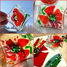 poppy fused glass dessert plates