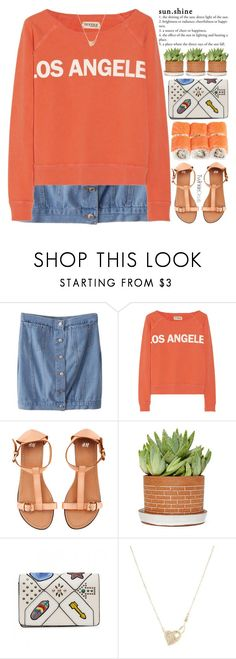 """""""please, i want so badly for the good things to happen."""" by exco ❤ liked on Polyvore featuring Elizabeth and James, H&M, clean, orange, sushi, organized and twinkledeals"""