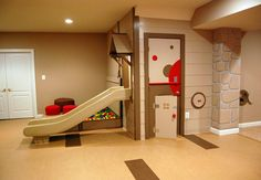Inside playground...My next house definitely needs a basement.