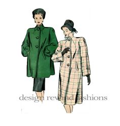 années 1940 manteau modèle lanterne manches Misses SWAGGER manteau buste 38…