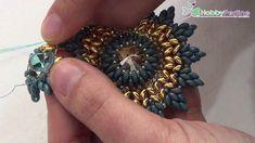 Tutoría broche con rivolí,  superduos y granito del 11/0. Ciondolo Blue Sun | Tutorial - HobbyPerline.com