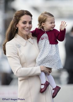 Kate in a new Catherine Walker coat and her Annoushka Pearl Drops and Kiki McDonough Diamond Hoops as Royal Tour Canada comes to a close. The Queen's diamond and platinum Maple Leaf brooch made its final appearance of the tour. Charlotte waves goodbye to staff at government house. Oct 1-16