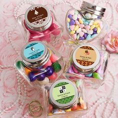 Personalized Mini Heart Jars with custom sticker designs.