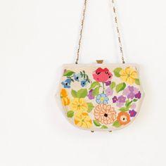 40's floral crewel bag