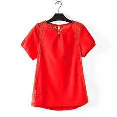 2017 women plus size Lace stitching cotton short-sleeved shirts female fashion plus size shirts Size L XL XXL XXXL XXXXL Red Shorts, Summer Shorts, Female Fashion, Womens Fashion, Plus Size Shirts, Cotton Shorts, Plus Size Fashion, V Neck, Lace