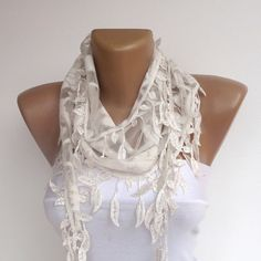 white wedding lace scarf  leaves lace scarves by seno on Etsy, $15.00