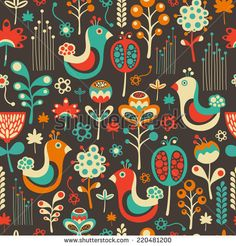 Colorful seamless pattern with funny birds and flowers. #floralpattern #flatdesign #vectorpattern #patterndesign #seamlesspattern