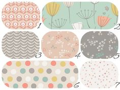 BEDDING COLLECTION  Gray/Peach/Coral/Mint by LittleMooseByLiza Crib Sheet $34 any of the fabrics but really love #2 in pic