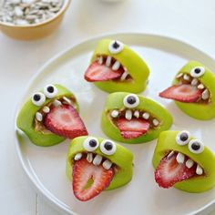 I'm definitely keen to make these little monsters NEXT Halloween! They're silly. They're easy to make. And best of all, they're allergen-free. No nuts, no gluten, no soy…nothing. Just green apples, sunflower butter, sunflower seeds, a slice of strawberry and homemade google eyes.