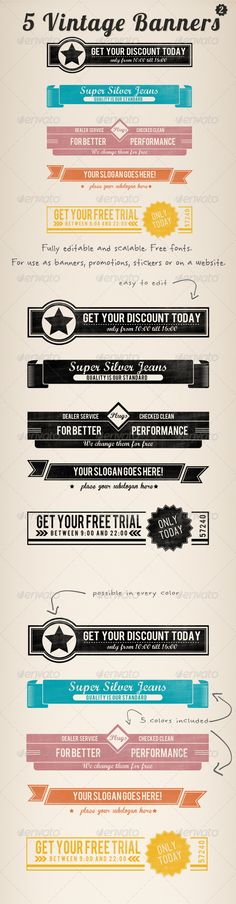 5 Vintage Retro Banners Set 2 - GraphicRiver Item for Sale