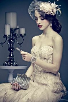 76 Adorable Vintage Birdcage Veils - love everything in this picture except the strapless portion of the dress