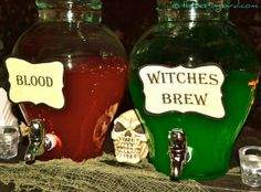 Are you in the mood for some Witches Brew (margaritas) or Blood (strawberry daiquiris)  #Halloween #PartyIdeas