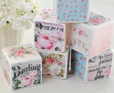 Use as paper weights, sulatan kung ano ang mnga papel  Shabby Chic Decorative Blocks