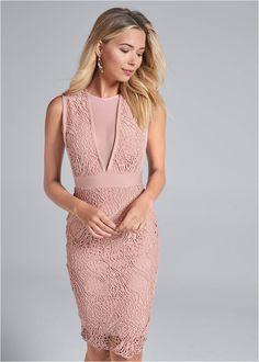 Lace V-Neck Bandage Dress,High Heel Strappy Sandals Formal Dress Shops, Formal Dresses, Bold Fashion, Pink Dress, Hue, Party Dress, Fashion Dresses, V Neck, Pretty