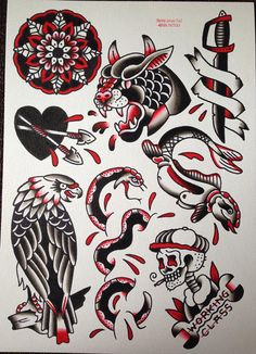 Black and red original watercolour traditional tattoo flash painting