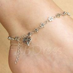 #TBDress - #TBDress Silver Heart Shaped Womens Alloy Anklet - AdoreWe.com