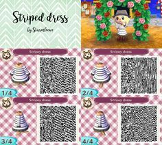 animal crossing new leaf qr code cute striped dress outfit black and white trendy chill clothes with choker acnl by sturmloewe